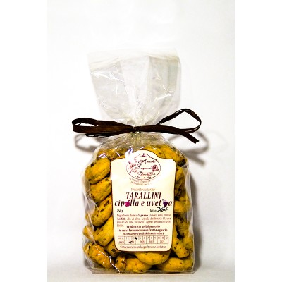 Tarallini à l'huile avec raisin sec et oignon
